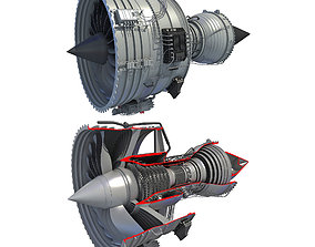 Complete and Sectioned Turbofan Engines 3D model