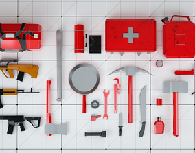 Survival Kit Tools Weapons and Equipment 3D asset