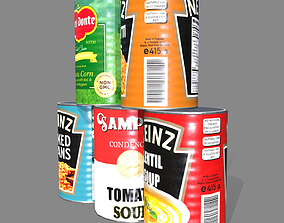 3D model Low poly cans