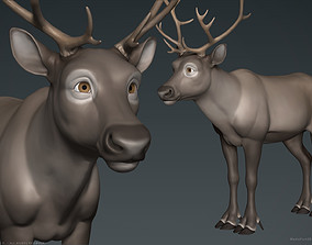 Stylized Cartoon Reindeer 3D