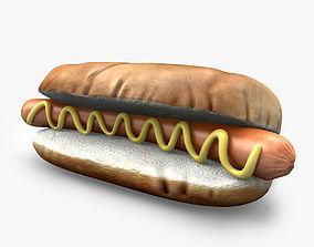 Hotdog with mustard 3D