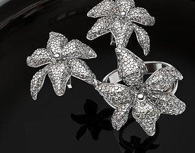 Flower bud diamonds earrings and rind set 3D print model