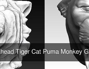 3D model Lot of 3 Animal head Tiger Cat Puma Monkey 1