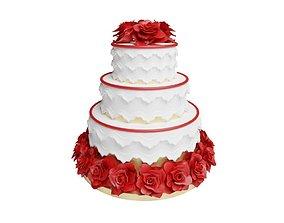 3D asset Three Tier Flower Wedding Cake