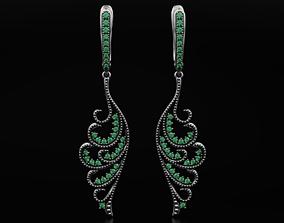 3D print model Vintage earrings wings with diamonds 598