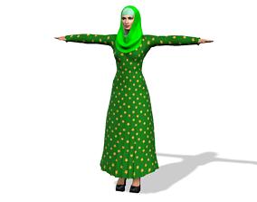 animated Arabic girl 3D Model with Arabic Burqa