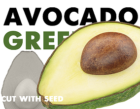 3D model AVOCADO GREEN CUT WITH SEED
