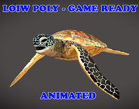 Low poly Green Turtle Animated - Game Ready 3D asset