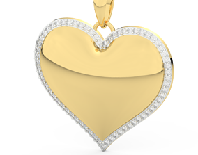 3D printable model heart pendant diamonds