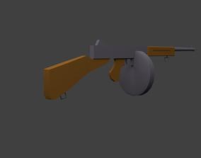 3D model THOMPSON SUBMACHINE GUN LOW POLY