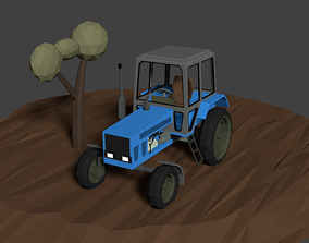 MT3 Tractor LowPoly isometric 3D asset
