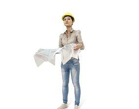 3D Construction Woman with Blueprints