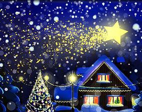 Christmas star comet animated 3D asset