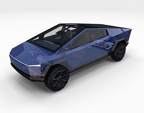 3D model Tesla Cybertruck with chassis and interior