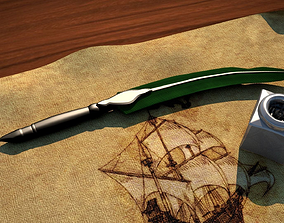 Pen And Paper Classic With Ink Bottle 3D model