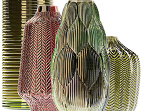 Amazing glass vases set for interior 3D model