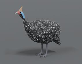 3D asset Low Poly Cartoon Helmeted Guineafowl