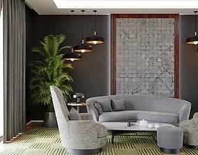 3D model Living room Modern interior design contemporary