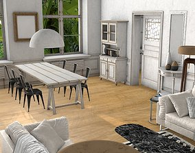 modern Living room 3D asset game-ready
