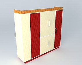 Red wardrobe 3D model