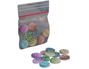 Simple Extasy Pills and Bag 3D model
