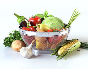 Vegetables in the basket 3D