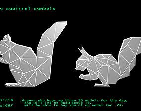 Low poly squirrel symbols 3D asset