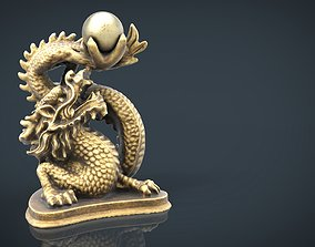 3D asset Chinese dragon statue