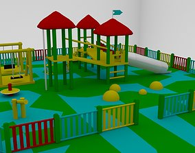 Simple Children Playground 01 3D asset low-poly