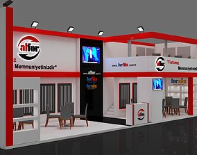 3D Exhibition Stall Size 15 m x 4 m Height 500 cm