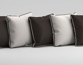 White and black pillows 3D model