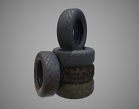 3D model low-poly Low poly Tire 02 PBR Game-ready