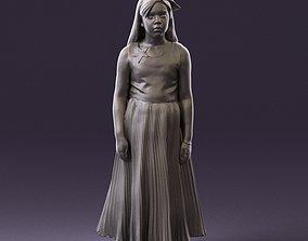001026 junior girl in pink long dress 3D Print