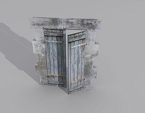 3D model Door 4 Wooden with stone frame
