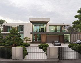 3D winter High-tech private home