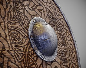 Round shield with carved nordic ornament 3D asset