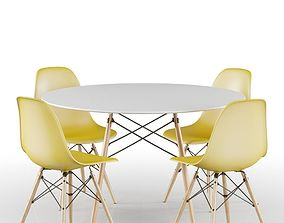3D Yellow Eames Set Table and Chairs