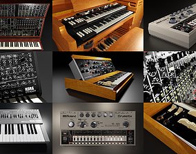 Vintage keyboard collection 3D