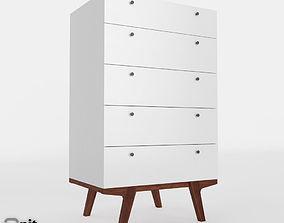 west 3D model Modern 5-Drawer Dresser by West Elm