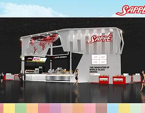 Booth Sappe design size 21 x 6 m 126 sqm 3D asset