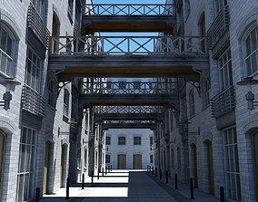 architecture 3D Building Alleyway Textured