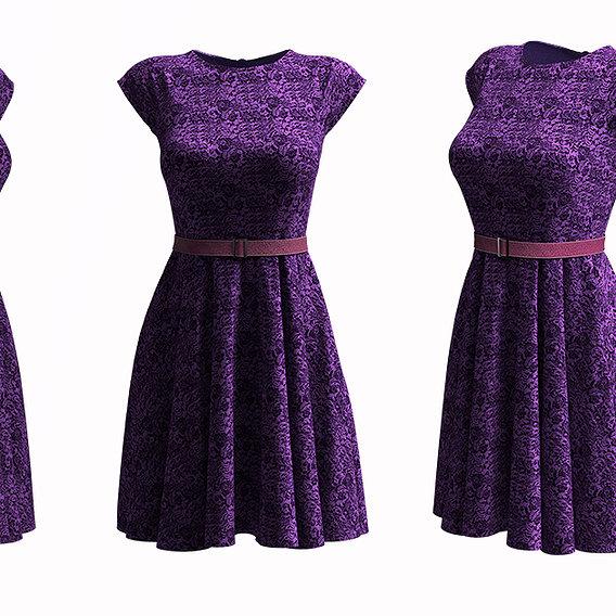 Cocktail dress, Frock design lace frock design, marvelous designer clo3D design
