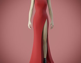 3D model red gown with high slit