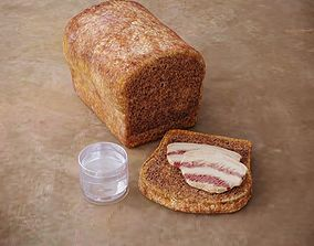 Slavic Bread with Bacon 3D asset
