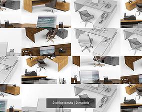 2 office desks 3D