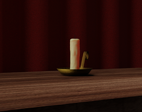 3D asset low-poly Candle Model Render Models Included