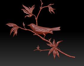 3D printable model bird on a branch