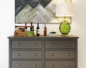 Palermo gray dresser with 6 drawers 3D