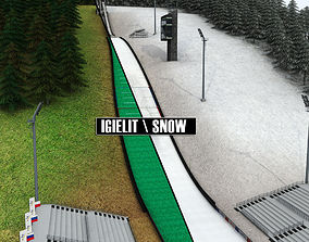 3D model Ski jumping hill low detail