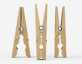 Wooden Clothespin 4 3D model animated